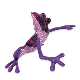 Handmade Wood Figurine, 'Purple Dancing Frog' (Mexico)