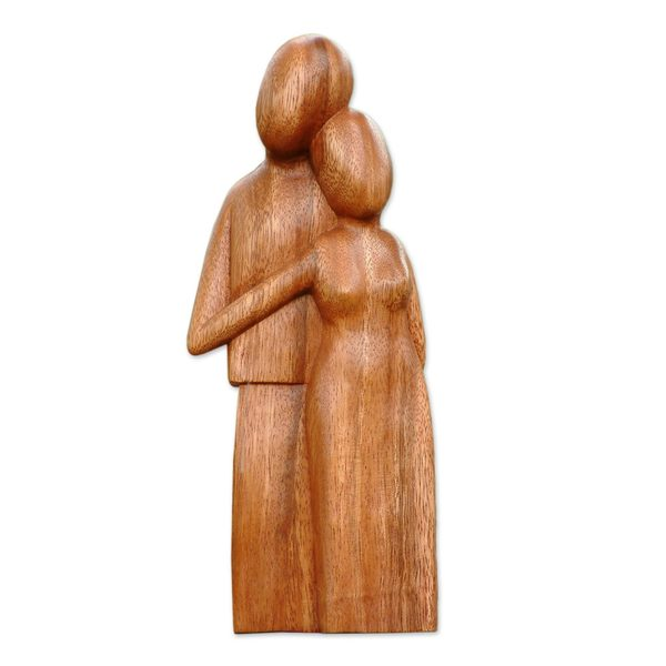 Handmade Wood Sculpture, 'Young Family' (Indonesia)