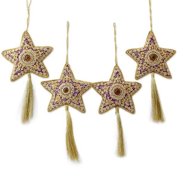Handmade Set of 4 Beaded Ornaments, 'Purple Star' (India)