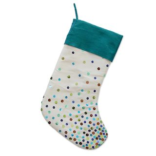 Handmade Sequined Stocking, 'Glittering Christmas' (India)