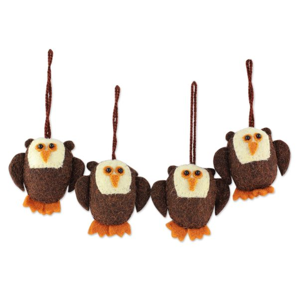 Handmade Set of 4 Wool Ornaments, 'Solemn Brown Owls' (India)