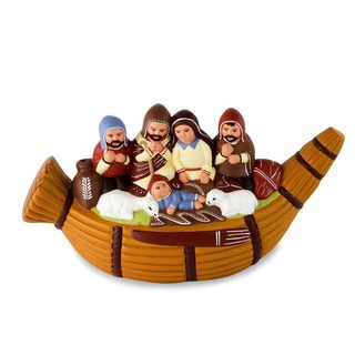 Handmade Ceramic Nativity Scene, 'Christmas in A Reed Canoe' (Peru)