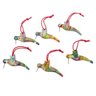 Handmade Set of 6 Ceramic Ornaments, 'Hummingbird Squadron' (Guatemala)