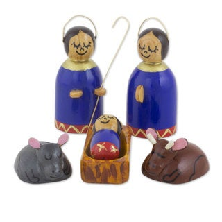 Handmade Wood 6-piece Nativity Scene, 'Holy Family in Royal Blue' (Guatemala)