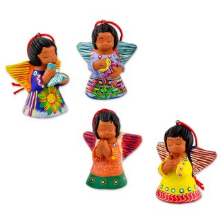 Handmade Set of 4 Ceramic Ornaments, 'Angels of The Flowers' (Guatemala)