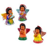 Handmade Set of 4 Ceramic Ornaments, 'Angels of The Flowers' (Guatemala)