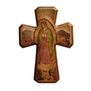 Handmade Decoupage Cross, 'Virgin of Guadalupe, Queen of Mexico' (Mexico)