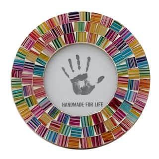 Handmade Glass Mosaic 4x4 Photo Frame, 'Indian Rainbow' (India)|https://ak1.ostkcdn.com/images/products/14578104/P21125270.jpg?impolicy=medium