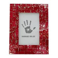 Handmade Red Ruby Glass Mosaic Photo Frame - 4' x 6' (India)