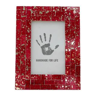 Handmade Glass Mosaic 4x6 Photo Frame, 'Red Ruby' (India)