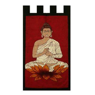 Handmade Cotton Batik Wall Hanging, 'Buddha On Red' (India)