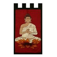Handmade Cotton Batik Wall Hanging, 'Buddha On Red' (India)
