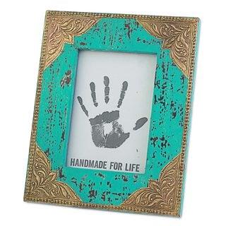Handmade Wood 5x7 Photo Frame, 'Majestic Turquoise' (India)