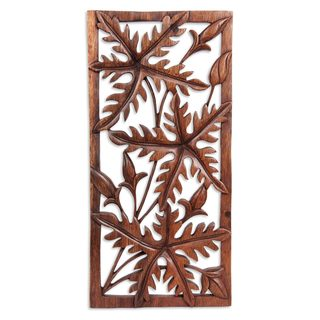 Handmade Wood Wall Panel, 'Forest Song' (Indonesia)