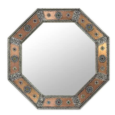 "Handmade Mirror, 'Crown Jewels' (India) - 17.0"" W x 17.0"" H"