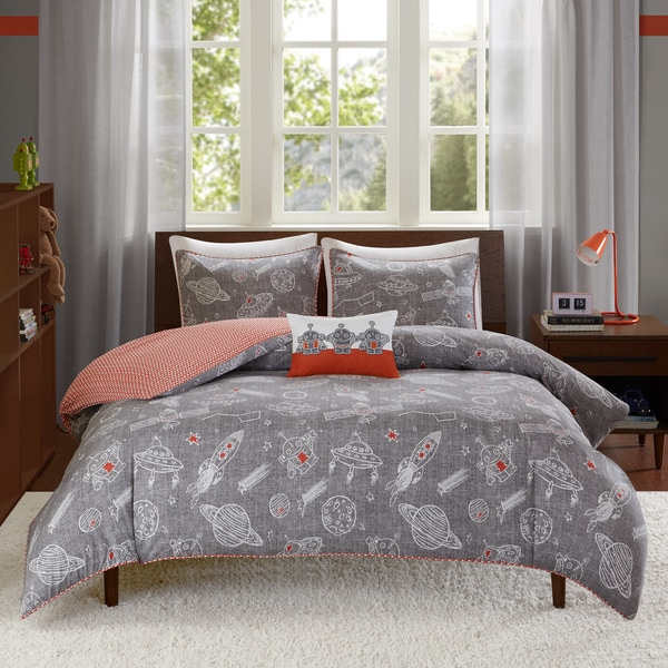 INK+IVY Kids Orbit Gray Cotton 4-piece Comforter Set