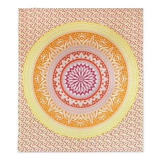 Handmade Cotton Wall Hanging, 'Sunshine Mandala' (India)|https://ak1.ostkcdn.com/images/products/14578131/P21125288.jpg?impolicy=medium