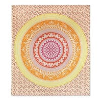 Handmade Cotton Wall Hanging, 'Sunshine Mandala' (India)