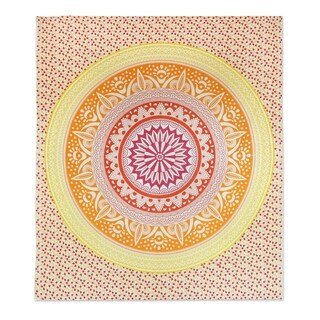 Handmade Cotton Wall Hanging, 'Sunshine Mandala' (India)
