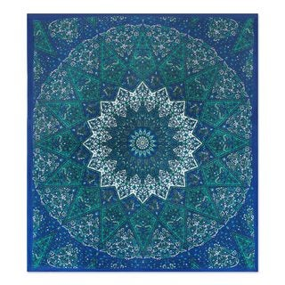 Cotton Wall Hanging, 'Magnificent Mandala in Blue' (India)