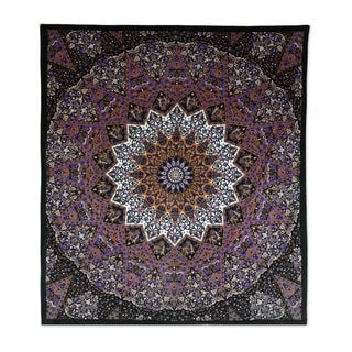 Handmade Cotton Wall Hanging, 'Magnificent Mandala' (India)