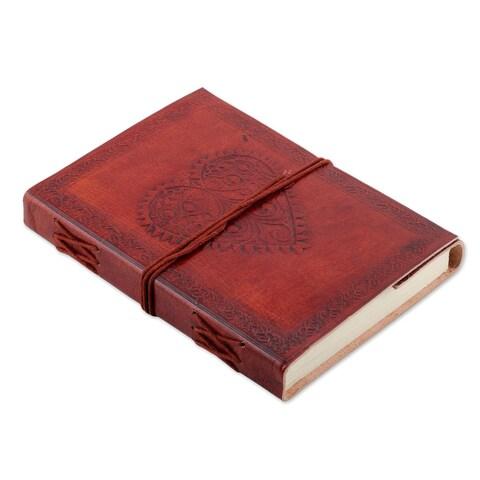 Handmade Leather Journal, 'Pure Heart' (India)