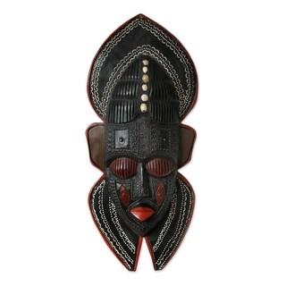 Handmade Ghanaian Wood Mask, 'Protector' (Ghana)