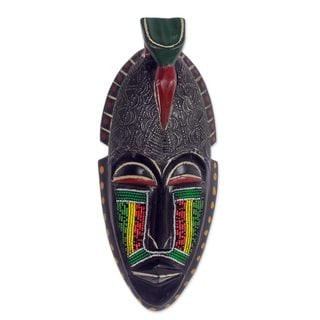 African Beaded Wood Mask, 'Adom Parrot' (Ghana)