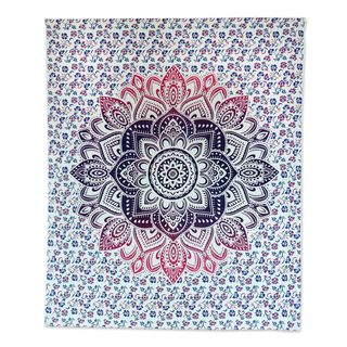 Handmade Cotton Wall Hanging, 'Glowing Flower' (India)
