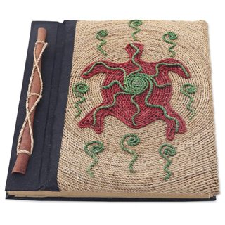 Handmade Natural Fiber Journal, 'Red Turtle' (Indonesia)