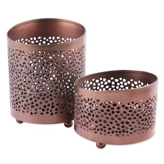 Link to Handmade Pair of Copper Tealight Candle Holders, 'Harmoniously' (India) Similar Items in Aromatherapy & Massage