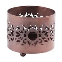 Handmade Copper Tealight Holder, 'Jali Glow' (India)