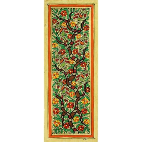 Handmade Madhubani Painting, 'Tree of Life' (India) - Orange/Green/Yellow