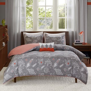 INK+IVY Kids Orbit Gray Cotton 4-piece Duvet Cover Set