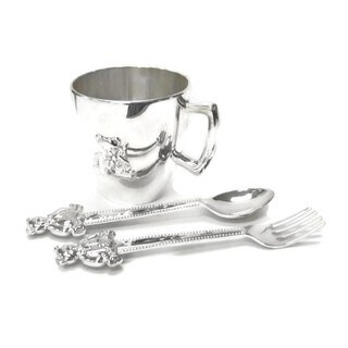 Elegance Nickel Plated 3 Pc Child Set - Cup, Spoon & Fork Bear Design