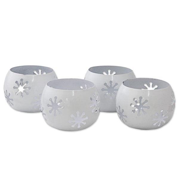 Handmade Set of 4 Iron Tealight Holders, 'Tawang Snowflakes' (India)