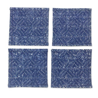 Handmade Set of 4 Cotton Batik Coasters, 'Hmong Indigo Stars' (Thailand)