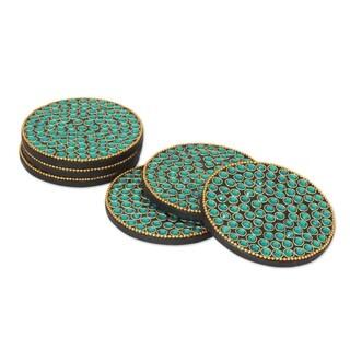 Handmade Set of 6 Bejeweled Coasters, 'Aqua Glitz' (India)