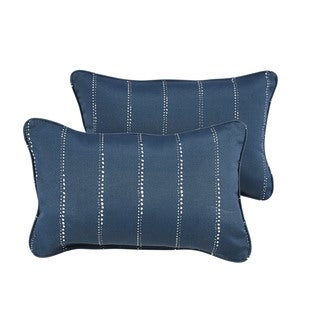 Caldwell III Navy Dotted Stripes Indoor/ Outdoor 13 x 20 inch Corded Pillow Set