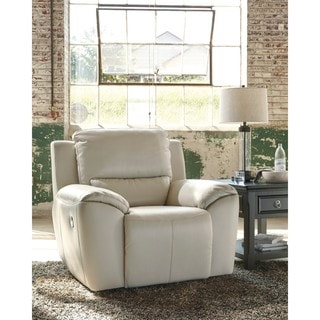 signature design by ashley valeton cream power recliner