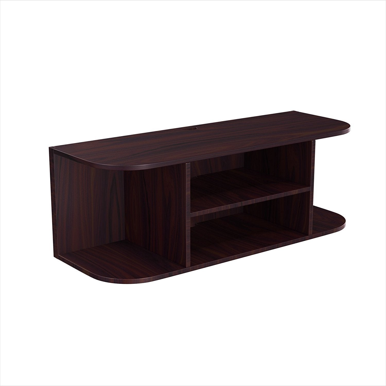 Wall Mount Espresso Wood Large Floating Shelf, Brown