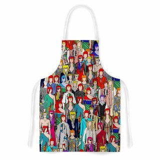 Notsniw 'Where's Bowie?' Red Black Artistic Apron