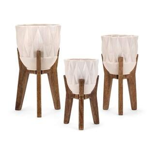 Amara Vases on Wood Stands - Set of 3