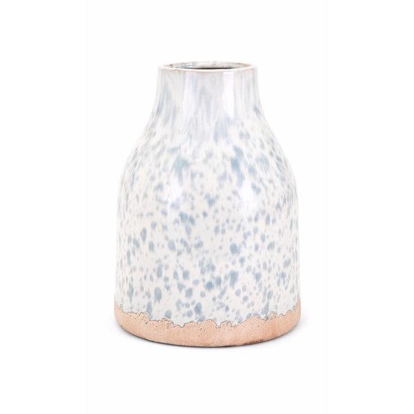 Leitha Medium White and Bronze Finish Clay Vase
