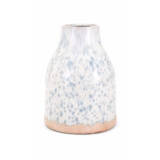 Leitha Medium White and Bronze Finish Clay Vase