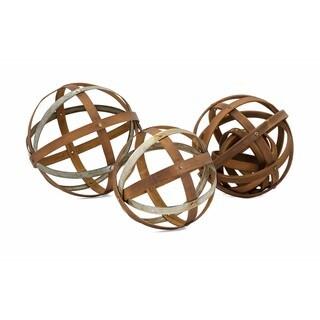 Kaiden Wood and Metal Spheres - Set of 3