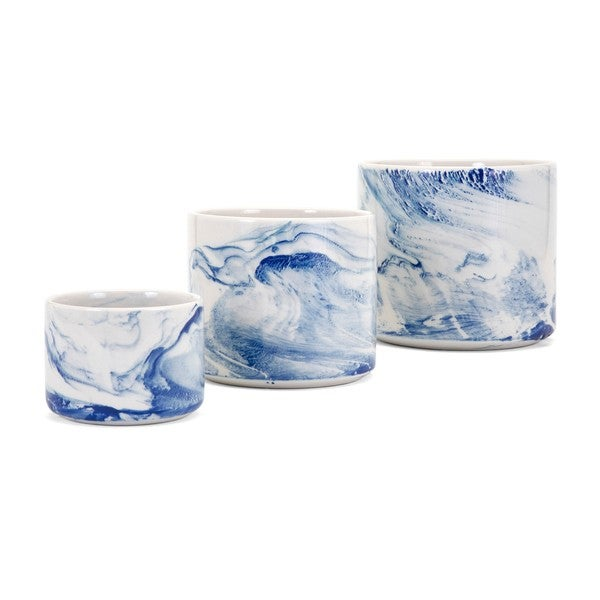Willow Faux Marble Planters - Set of 3