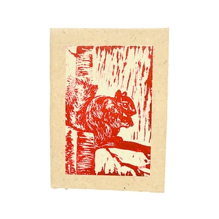 Handmade Block Printed Squirrel Journal - Imani Workshops (Kenya)