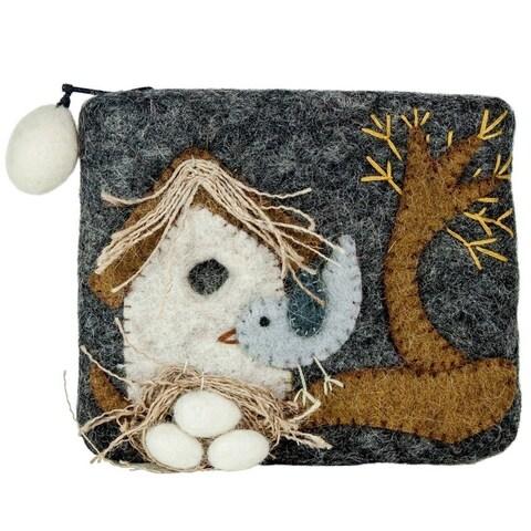 Handmade Felt Coin Purse - Nesting Bird (Nepal)