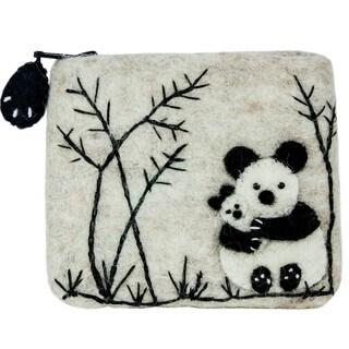 Handmade Felt Coin Purse - Panda Love (Nepal)